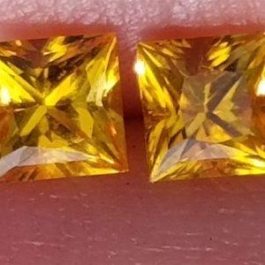 Ceylon Yellow Princess Cut Sapphire Pair 4mm 0.98 cts