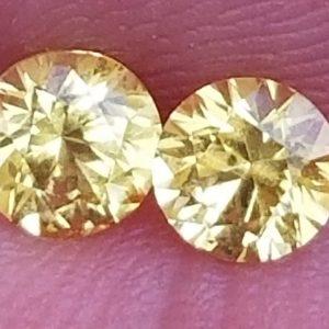 Sri Lanka Matched Pair Yellow Round Sapphire 0.91 Carats 4.5mm