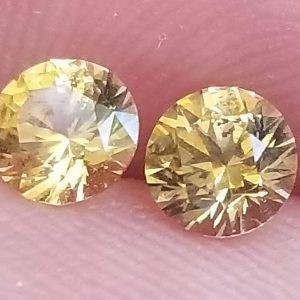 $99 Super Deal Ceylon Yellow Sapphire Round Matched Pair 4.5mm 0.94 carats