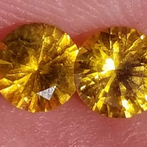 Ceylon Yellow Sapphire Round Matched Pair 5.0mm 1.09 carats FREE Pri Mail Ship
